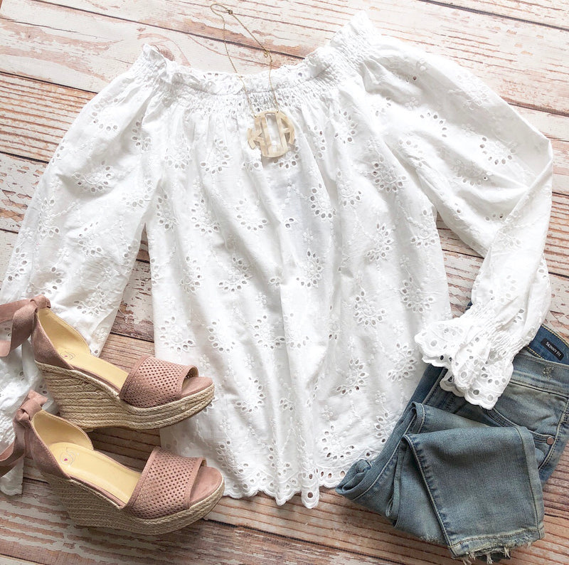 Pretty Little Details Off The Shoulder Top In Off White
