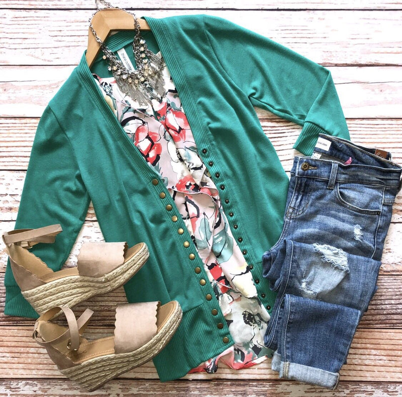 Classic Cardigan 3/4 Sleeves In Green