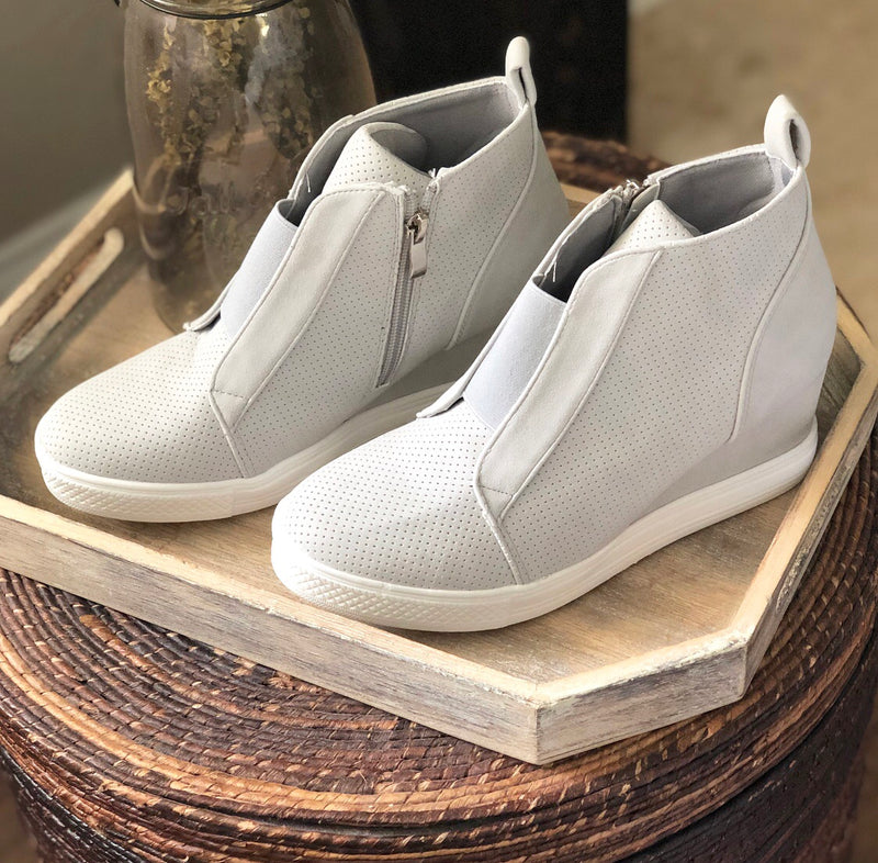 Lauren Sneaker Wedge In Light Gray