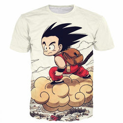 Kid Goku Flying Nimbus Cloud Vintage T-Shirt
