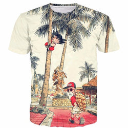 Kid Goku and Master Roshi Palm Tree Vintage T-Shirt