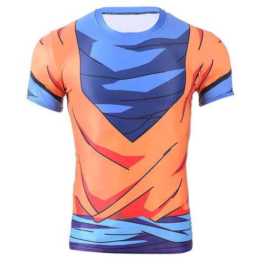Goku Cosplay Uniform Fitness Compression T-Shirt