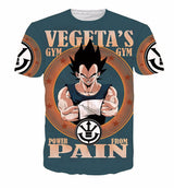 Vegeta's Gym - Power From Pain Full 3D Printed T-Shirt
