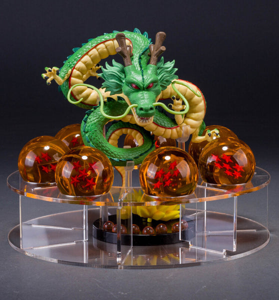 Shenron Green & Golden Shelf Figure with 7 Crystal Balls Set