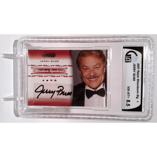 Jerry Buss 2007 Razor Poker #SS-4 Graded 8.5 Autograph Showdown Signature