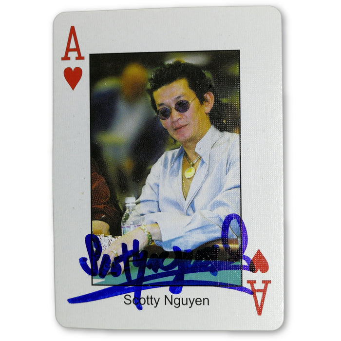 Scotty Nguyen Autograph Pokers Most Wanted Poker Pro Playing Card Ace of Hearts