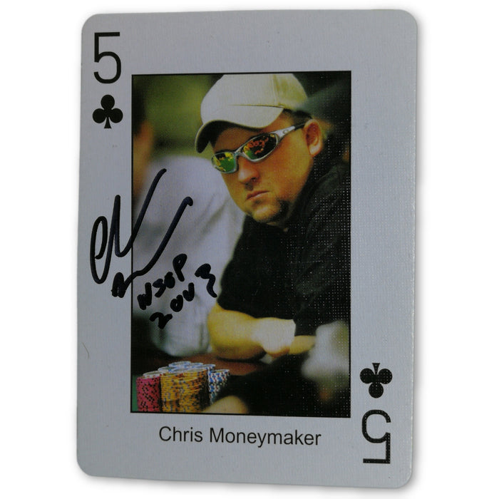 Chris Moneymaker Autograph Pokers Most Wanted Poker Pro Playing Card 5 of Clubs
