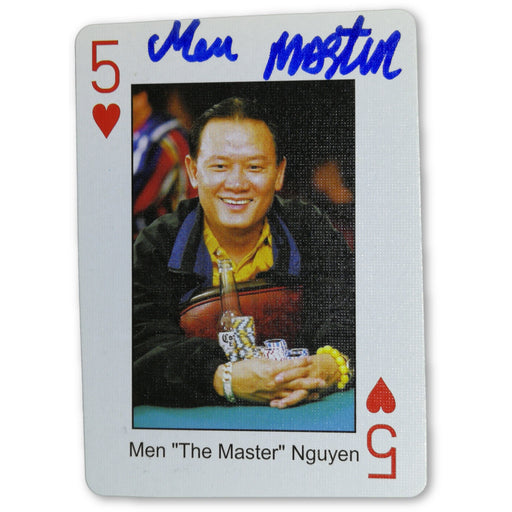 Men Nguyen Autograph Pokers Most Wanted Poker Pro Playing Card 5 of Hearts