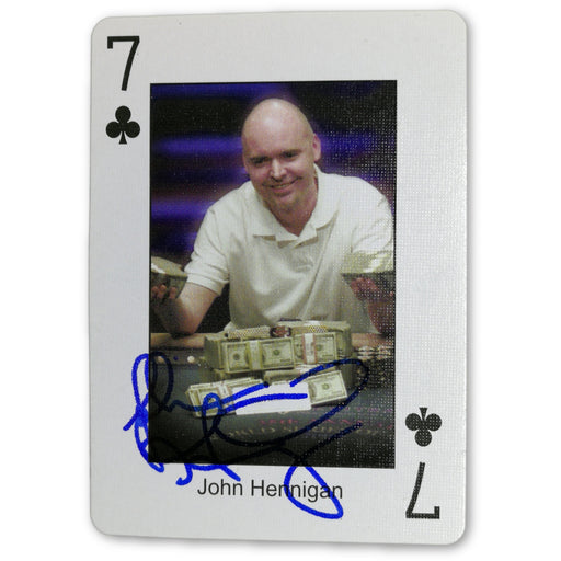 John Hennigan Autograph Pokers Most Wanted Poker Pro Playing Card 7 of Clubs