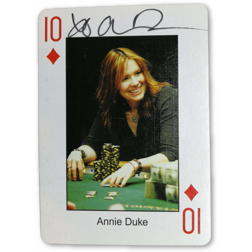 Annie Duke Autograph Pokers Most Wanted Poker Pro Playing Card 10 of Diamonds