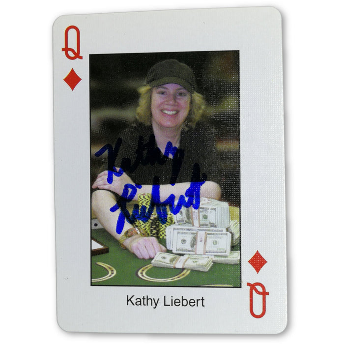 Kathy Liebert Autograph Pokers Most Wanted Poker Pro Playing Card Queen of Diamonds