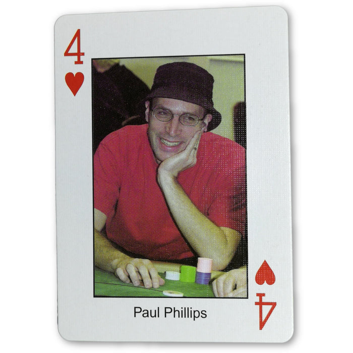 Paul Phillips Pokers Most Wanted Poker Pro Playing Card 4 of Hearts