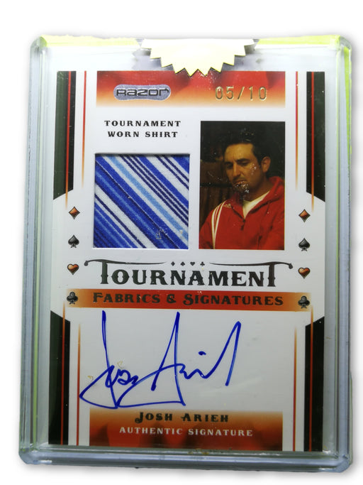 Josh Arieh 2010 Razor Poker Tournament Fabrics and Signatures #JA GOLD 5 of 10 Poker Trading Card