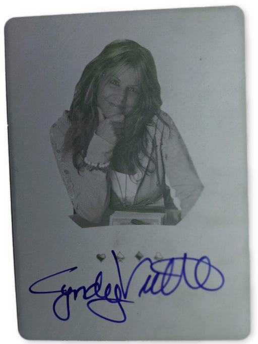 Cyndy Violette 2012 Leaf Metal Poker MB-CV1 Yellow Printing Plate Autographed 1 of 1 Poker Trading Card