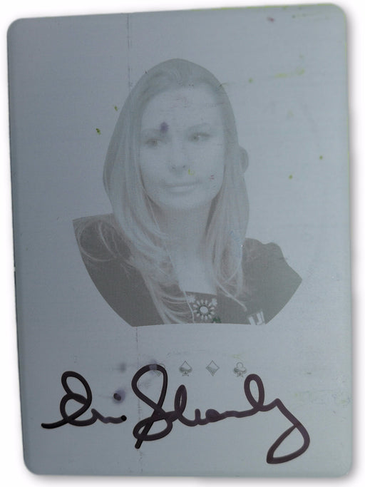 Erica Schoenberg 2012 Leaf Metal Poker MB-ES1 Cyan Printing Plate Autographed 1 of 1 Poker Trading Card