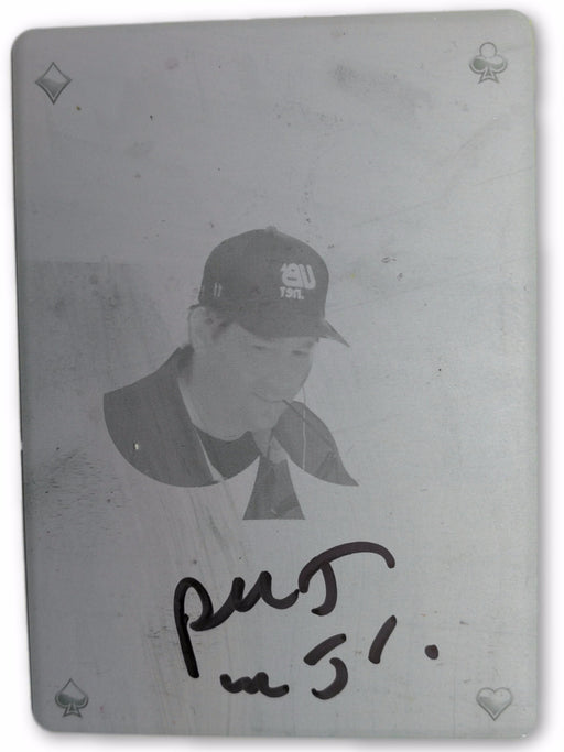 Phil Hellmuth 2012 Leaf Metal Poker HOF-PH1 Cyan Printing Plate Autographed 1 of 1 Poker Trading Card