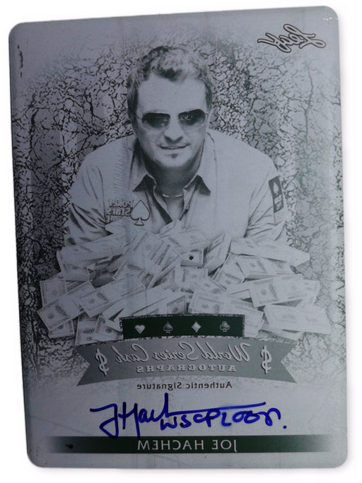 Joe Hachem 2012 Leaf Metal Poker $-JH2 Black Printing Plate Autographed 1 of 1 Poker Trading Card