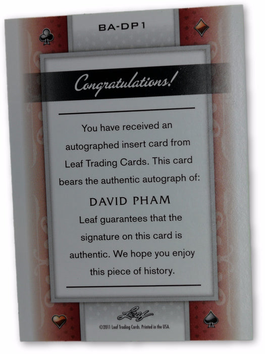David Pham 2011 Leaf Poker Hearts #BADP1 20 of 20