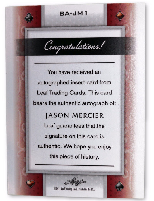 Jason Mercier 2011 Leaf Poker Clubs #BAJM1 52 of 146