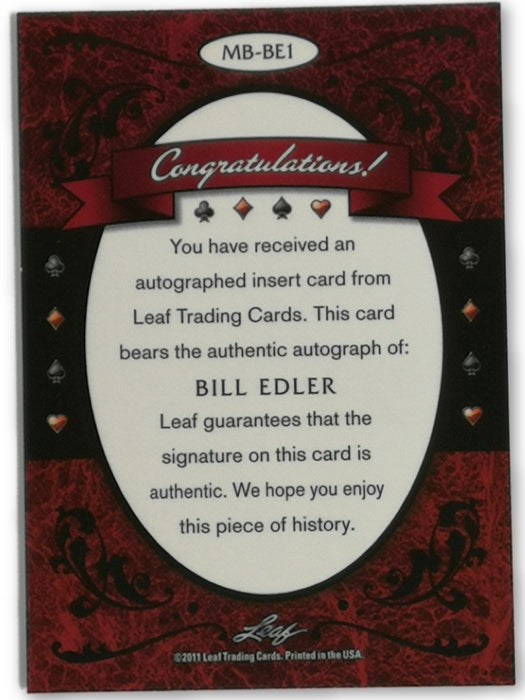 Bill Edler 2012 Leaf Poker Metal #MB-BE1 Poker Trading Card