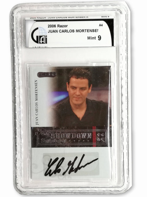 Carlos Mortenson 2006 Razor Poker #A-4 Graded 9 Mint Showdown Signature Poker Trading Card