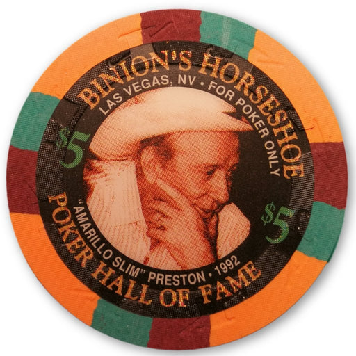 "Amarillo ""Slim"" Preston, 1995 Binions Horseshoe Poker Hall of Fame Poker Chip"