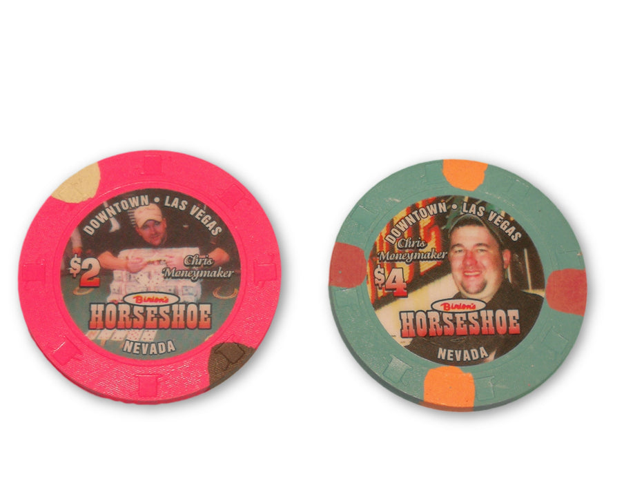 Chris Moneymaker Binions Horseshoe  and  Poker Chips (1 each)