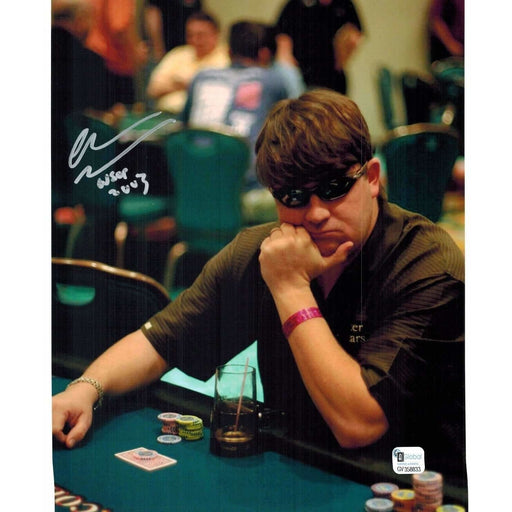Chris Moneymaker Poker Pro Autographed 8X10 Photo GAI Certified 833