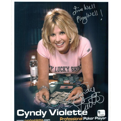 Cyndy Violette Poker Pro Autographed 8X10 Photo GAI Certified 884