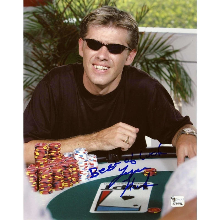 Layne Flack Poker Pro Autographed 8X10 Photo GAI Certified 935