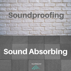 soundproofing vs sound absorbing image with brick and acoustic foam