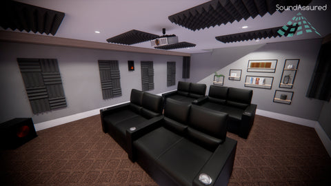 home theater setup with acoustic treatment 1