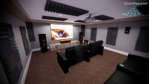 home theater acoustic treatment setup with acoustic foam panels and bass traps - basement