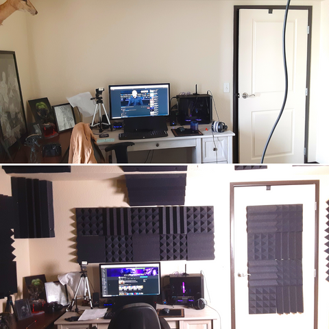 before and after acoustic treatment in youtube studio 2