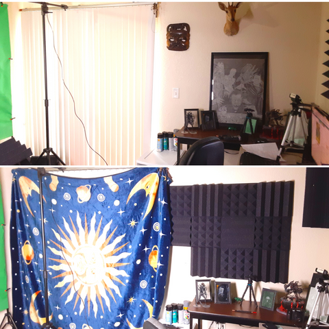 before and after acoustic treatment in youtube studio 1