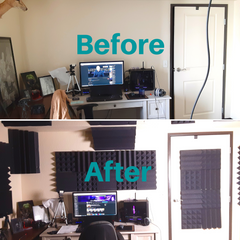 youtube studio with acoustic treatment - before and after