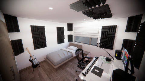 Voice over bedroom setup with acoustic treatment - microphone placement