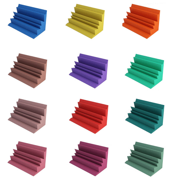 acoustic foam bass traps 12 different colors, blue, yellow, orange, brown, purple, kelly green, rosy beige, red, teal, burgundy, plum, forest green