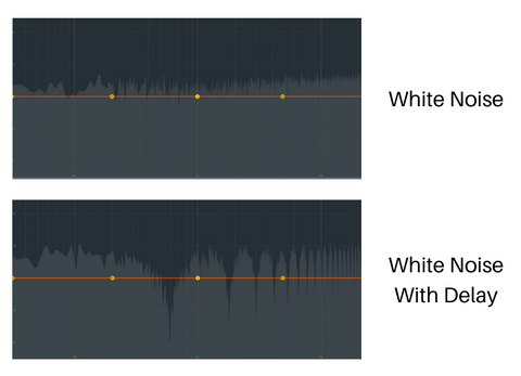 comb filtering example with white noise