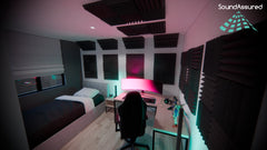 gaming bedroom setup idea with acoustic treatment installation