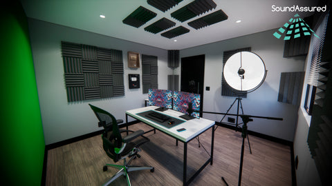 streaming room setup with acoustic treatment and green screen 2