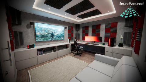 dedicated gaming room setup ideas with acoustic sound treatment