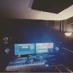 home recording studio with acoustic treatment
