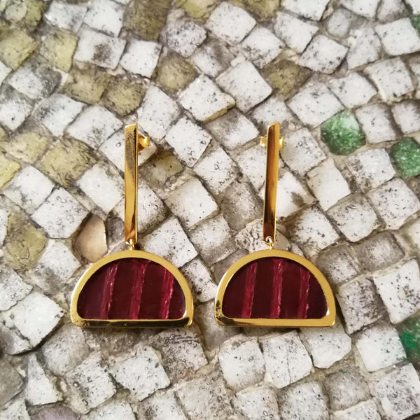 Burgundy Leather Half-Moon Earrings