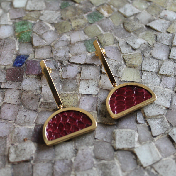 Burgundy Half-Moon Earrings