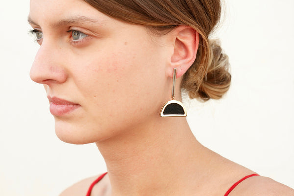 Green Olive Leather Half-Moon Earrings