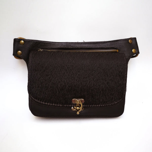 Black and Dark Fur Leather Crossbody