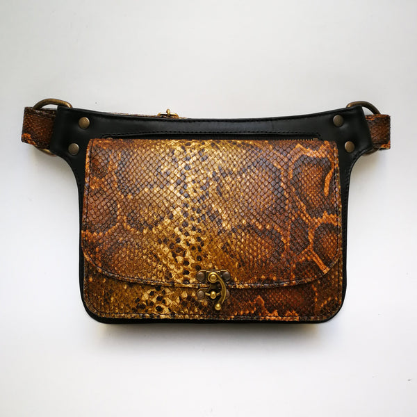 Black and Sepia Print Leather Crossbody