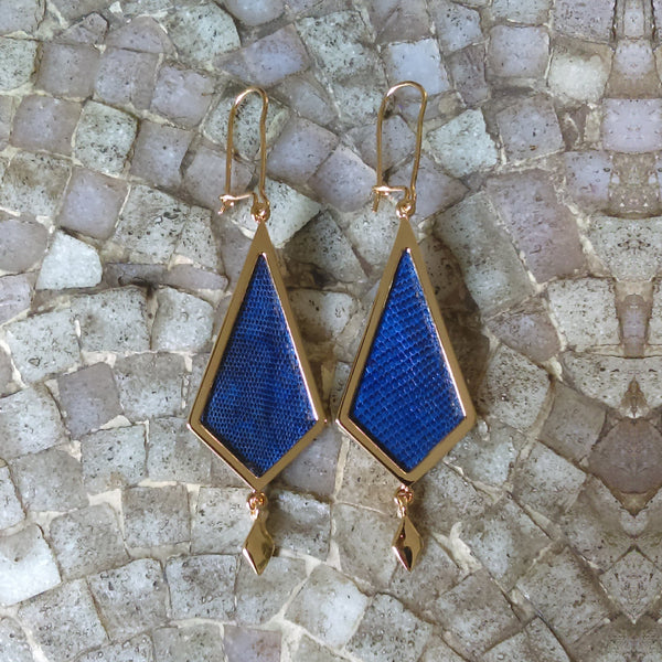 Gold Earrings with Blue Leather