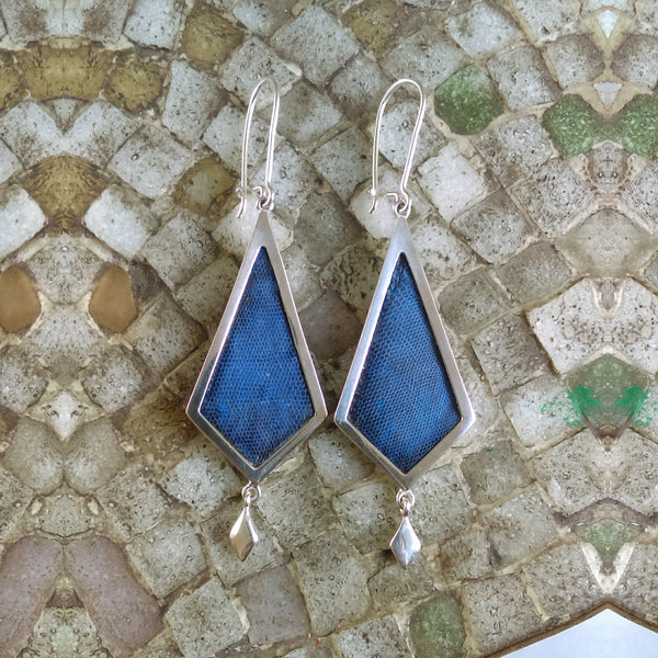 STERLING SILVER Diamond Shape Earrings Lapislazuli Leather